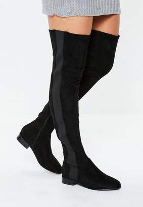 Missguided Black Over The Knee Chelsea Boots