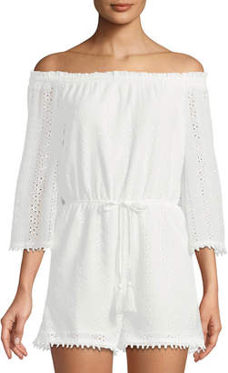 J.o.a. Off-The-Shoulder Eyelet Lace Romper