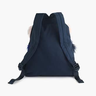 J.Crew Girls' drawstring backpack with furry pom-poms