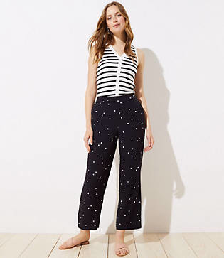 LOFT Tall Dotted Fluid Wide Leg Pants