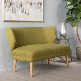Noble House Ardine Mid Century Modern Fabric Loveseat Sofa Settee, Green