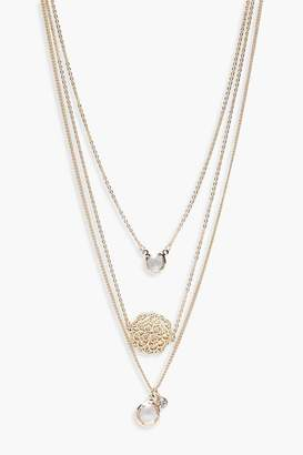 boohoo Filigree Coin Pendant Layered Necklace