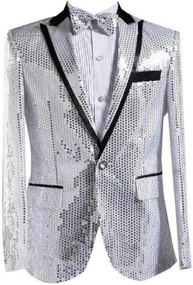 Zimaes-Men Solid Sequin Glitter Casual 1 Button Blazer Jacket Suits M