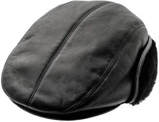 c9b1e16c477 Sterkowski Genuine Leather Men s Winter Flat Cap With Ear Flap US 7 ...