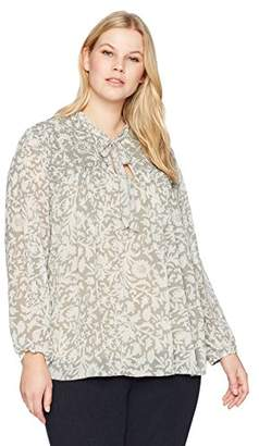 Lucky Brand Women's Beaded Floral Peasant Plus-Size Top