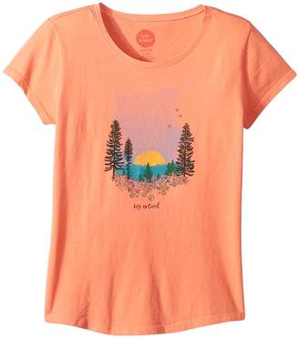 Life is Good Landscape Watercolor Smiling Smooth T-Shirt Girl's T Shirt