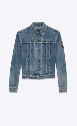 Saint Laurent Jeans Jacket With Badge In Faded Blue Denim