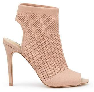 Miss Selfridge Nude candy knitted peep toe heel sandals