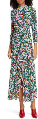 Rixo Lucy Floral Print Silk Dress