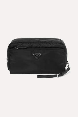 Prada Leather-trimmed Shell Cosmetics Case - Black