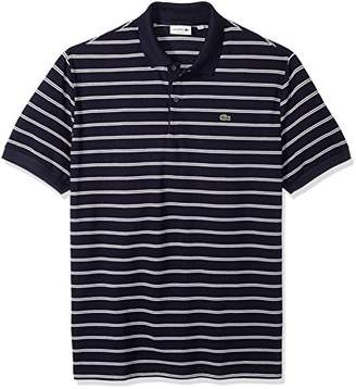Lacoste Men's Short Sleeve Stripe Pique Regular Fit Polo