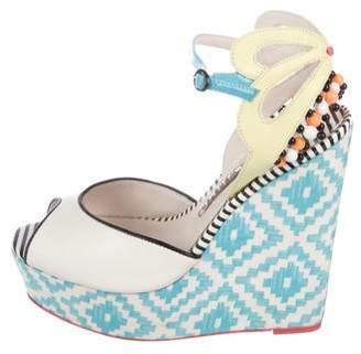 Sophia Webster Leather Peep-Toe Platform Wedges