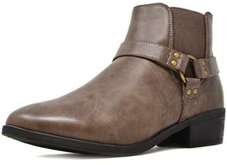Trium DREAM PAIRS Women's Faux Leather Ankle High Chunky Heel Boots Size
