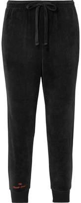 The Upside Hoya Cropped Cotton-blend Velour Track Pants - Black
