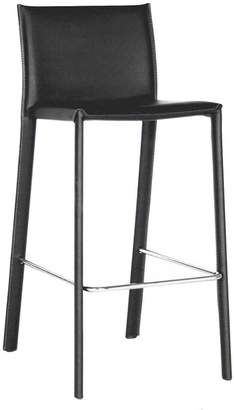 Baxton Studio Crawford Black Faux-Leather Bar Stool 2-piece Set
