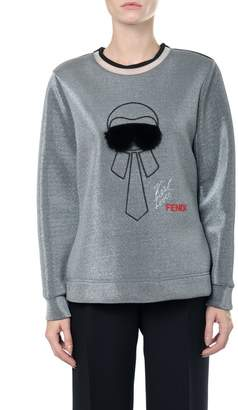 Fendi Karlito Embroidered Laminated Sweatshirt