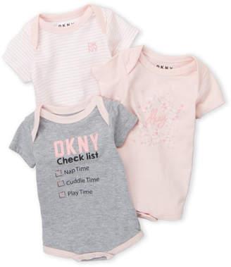DKNY Newborn Girls) 3-Pack Checklist Bodysuits