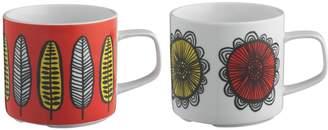 Freda Set of 2 patterned porcelain mugs