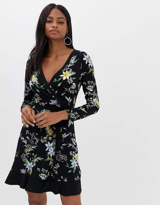 Oasis printed wrap dress