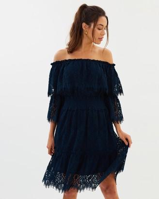 Peacock Doily Lace Off-Shoulder Mini Dress
