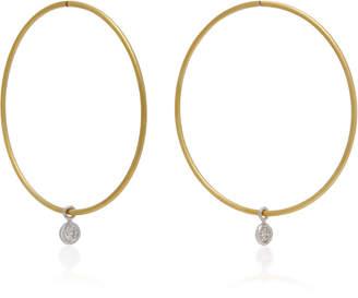 Ila Horizon 14K Gold and Diamond Hoop Earrings