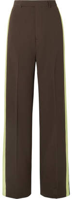 Rick Owens Satin-trimmed Wool Wide-leg Pants - Dark brown