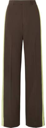 Rick Owens Satin-trimmed Wool Wide-leg Pants - Dark brown