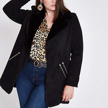 Womens Plus Black faux fur lined fallaway jacket