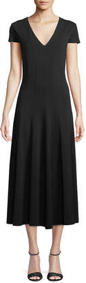 Max Mara Ninfa V-Neck Short-Sleeve A-Line Tea-Length Dress
