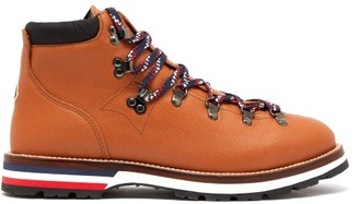 Moncler Peak Lace Up Leather Boots - Mens - Brown Multi