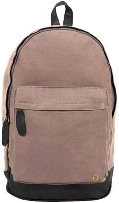 Mahi Leather Leather Canvas Classic Backpack Rucksack In Grey
