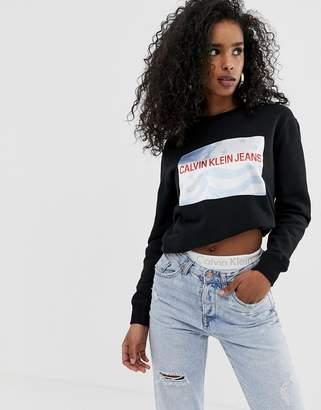Calvin Klein Jeans star print logo crew neck sweatshirt