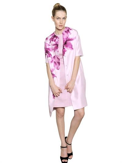 Giambattista Valli Flower Print Silk Shantung Coat