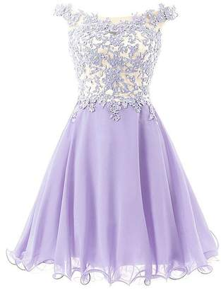 028a190c97f Cdress Short Homecoming Dresses Chiffon Cocktail Prom Dress Junior Party  Gowns Lace Applique US
