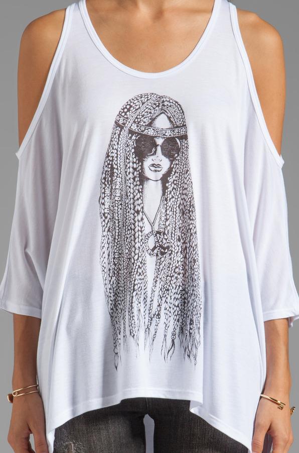 Lauren Moshi Macy Large Hippie Oversized Open Shoulder Top