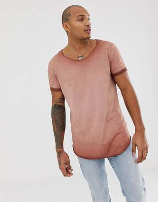 Asos DESIGN relaxed super longline t-shirt with curved hem roll sleeve and scoop neck in pigment wash