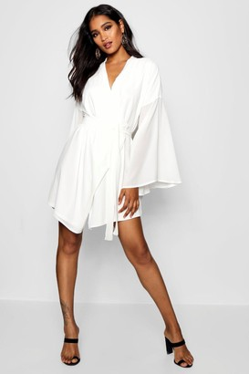 boohoo Wide Sleeve Woven Wrap Dress