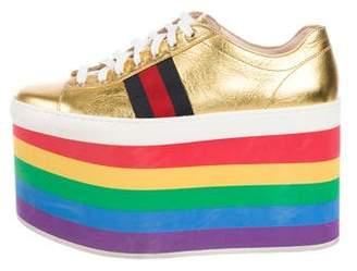 5cfc7b223d4 Gucci 2017 Peggy Metallic Platform Sneakers