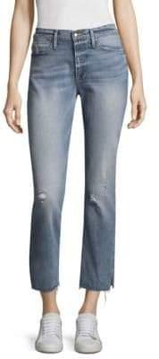 Frame Light Wash Straight Leg Slit Rivet Hem Jeans