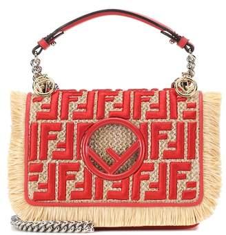 Fendi Kan I F Small raffia shoulder bag