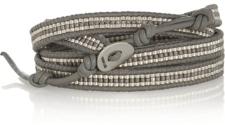Chan Luu Leather and bead five wrap bracelet