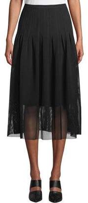 Akris Punto Partial-Lined Mesh Godet Midi Skirt