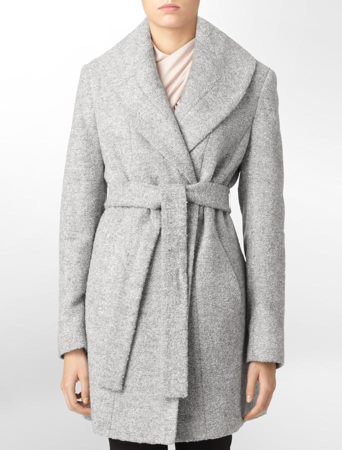 Calvin Klein Pressed Boucle Wool Blend Belted Coat