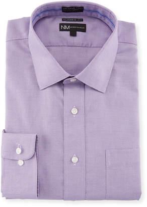 Neiman Marcus Classic-Fit Non-Iron Textured Ribbon Dress Shirt, Purple