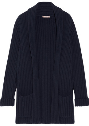 Michael Kors Collection - Oversized Ribbed Cashmere Cardigan - Navy $1,595 thestylecure.com