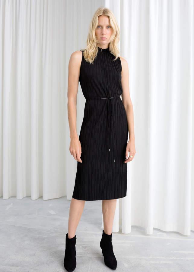 Plisse Pleated Midi Dress