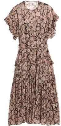 Zimmermann Belted Ruffle-Trimmed Crinkled Silk-Chiffon Midi Dress