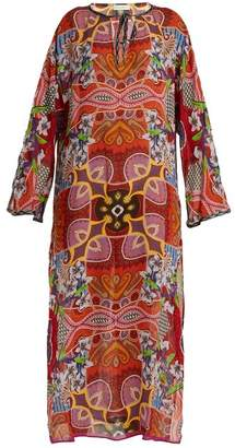 Etro Graphic Floral Print Tie Neck Chiffon Kaftan - Womens - Pink Multi