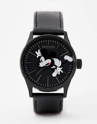 Nixon X Mickey Mouse Sentry Leather Watch In Black