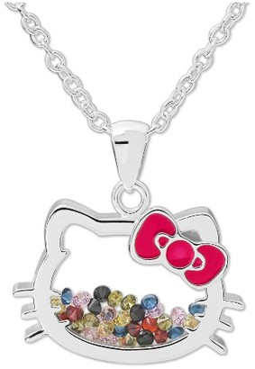 Hello Kitty Women's Sanrio Silver Plated Hello Kitty Floating CZ Shaker Pendant Necklace $29.99 thestylecure.com